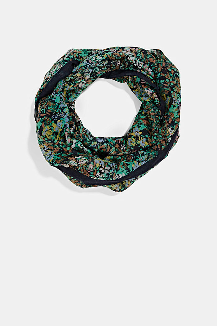 Recycled: Woven scarf with flora print, NAVY, detail image number 0