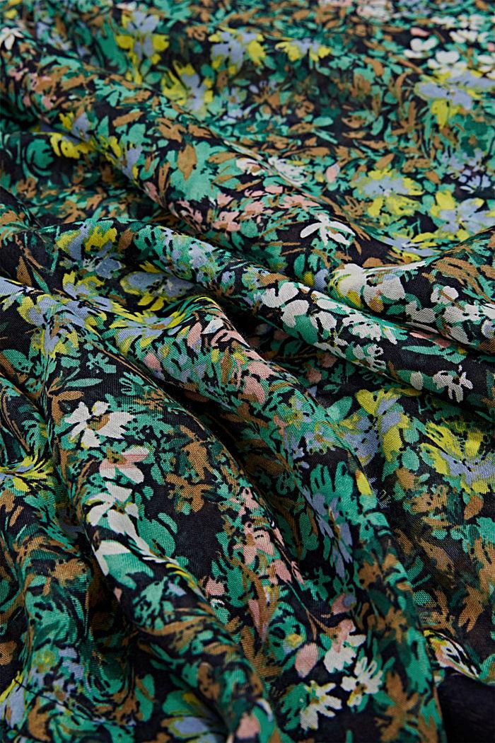 Gerecycled: geweven sjaal met bloemenprint, NAVY, detail image number 2