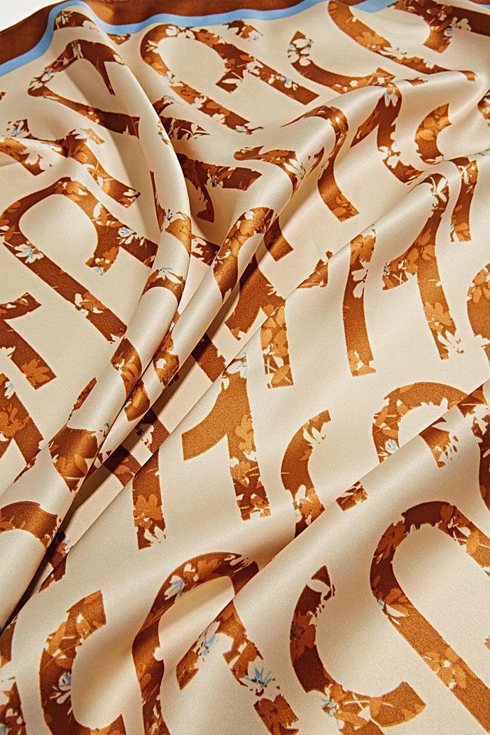 Gerecycled: sjaal met logoprint, SAND, detail image number 2
