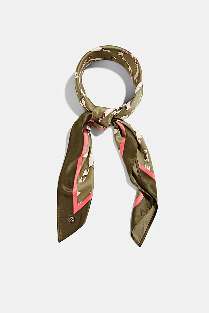 Recycled: Scarf with logo print, LIGHT KHAKI, overview