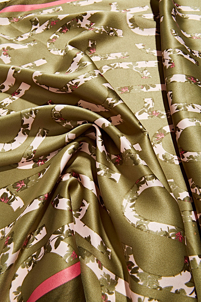 Recycled: Scarf with logo print, LIGHT KHAKI, detail image number 2
