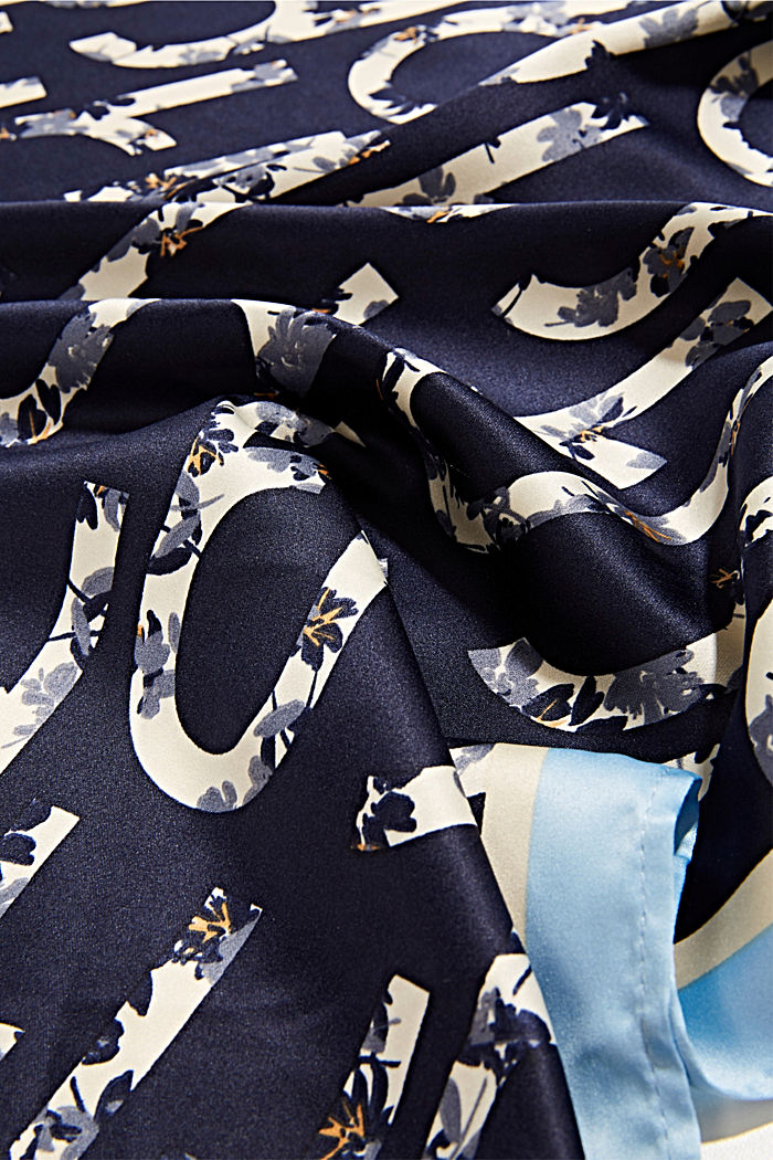 Gerecycled: sjaal met logoprint, NAVY, detail image number 2