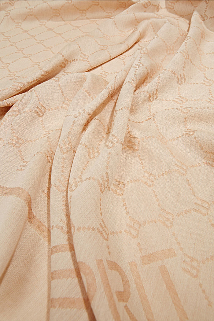 Monogram scarf featuring LENZING™ ECOVERO™, SAND, detail image number 2