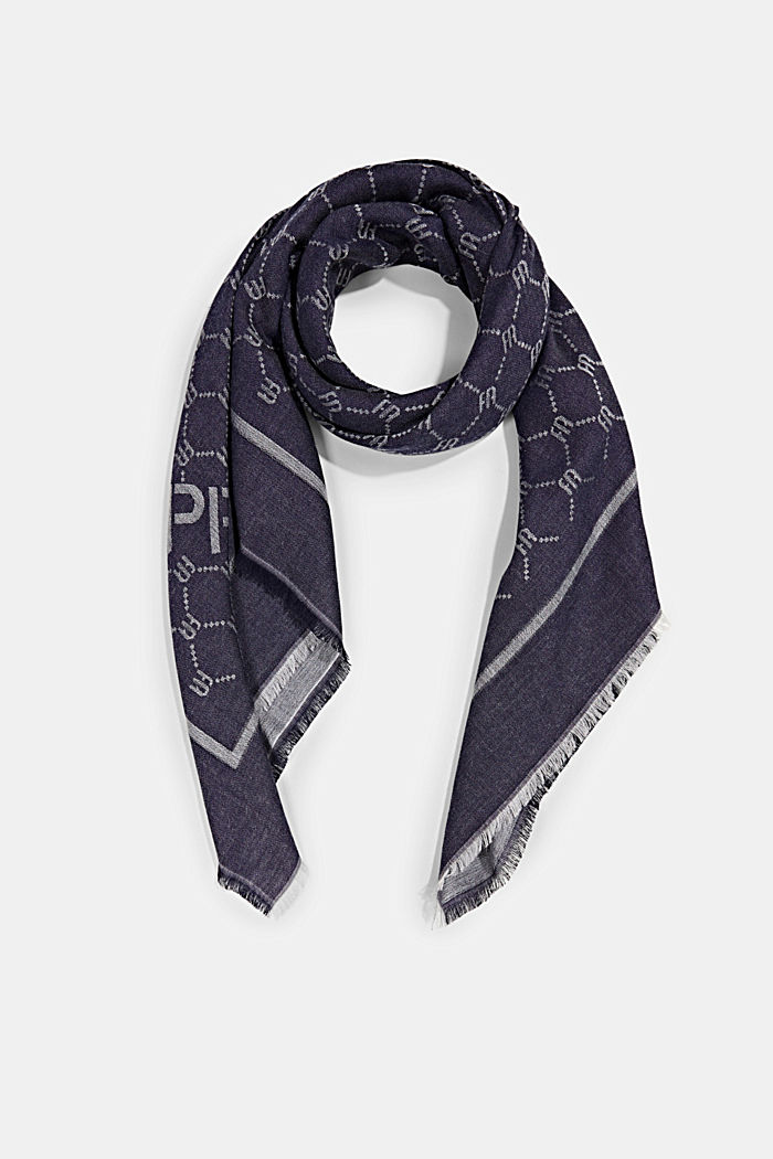 Monogram scarf featuring LENZING™ ECOVERO™, NAVY, detail image number 0