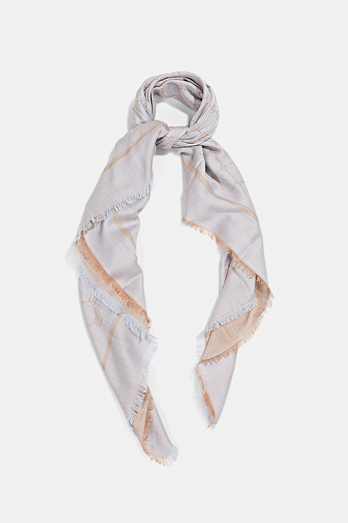 Monogram scarf featuring LENZING™ ECOVERO™, PASTEL BLUE, detail image number 0