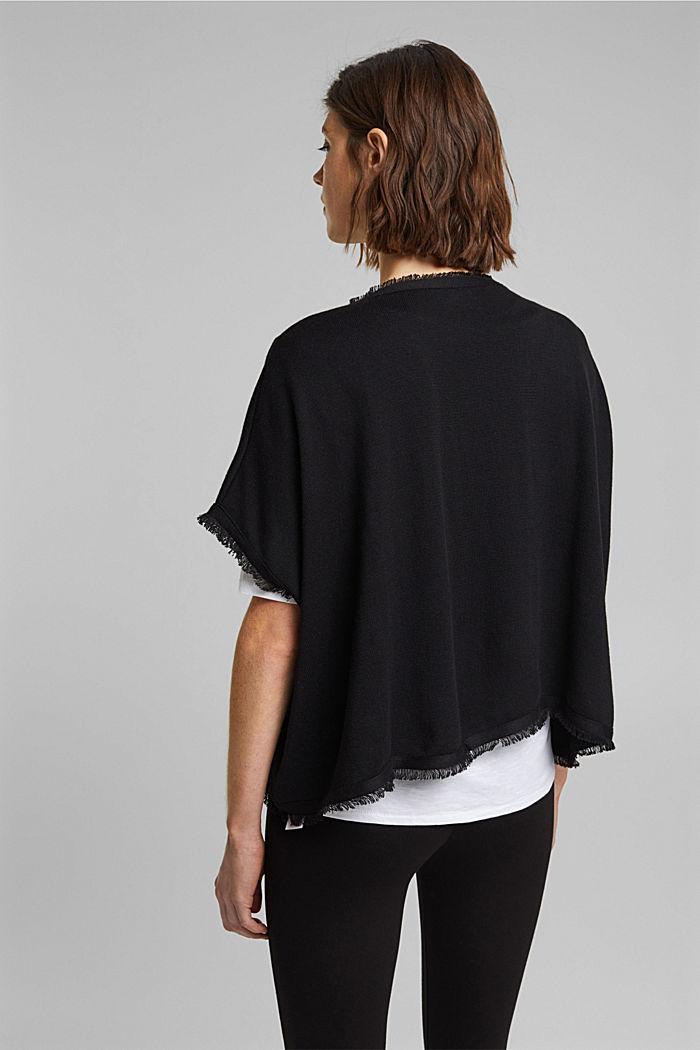 Gerecycled: gebreide poncho met wol, BLACK, detail image number 3