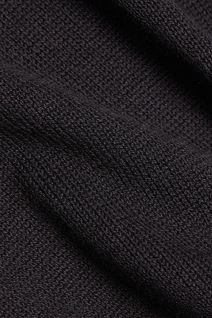 Gerecycled: gebreide poncho met wol, BLACK, detail image number 2