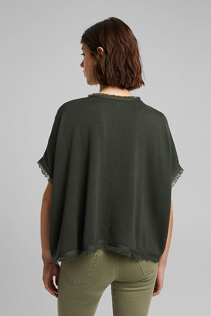 Recycled: Knit poncho with wool, KHAKI GREEN, detail image number 3
