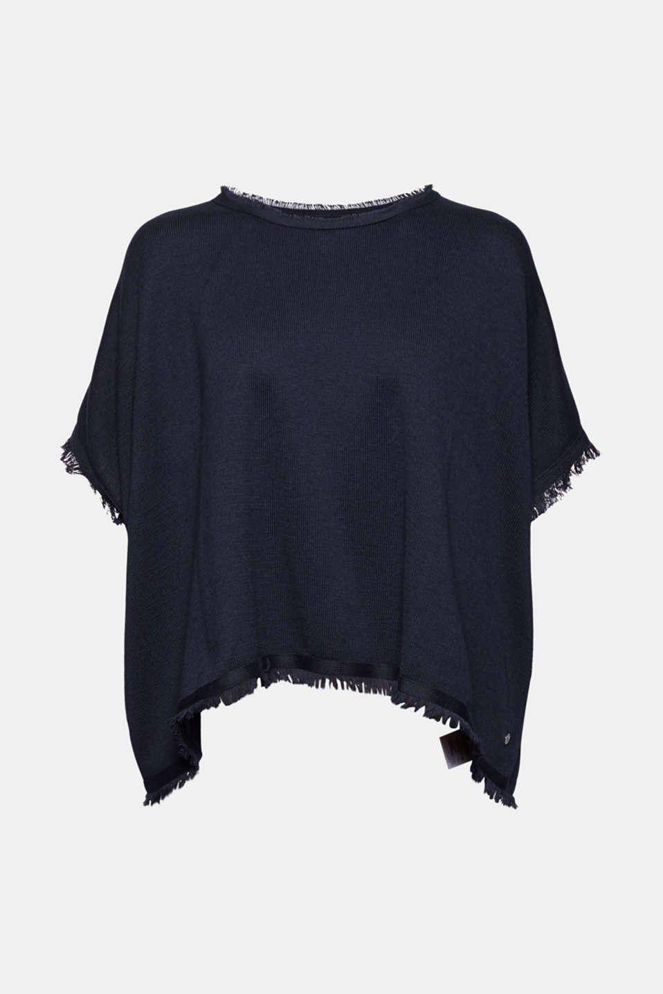Esprit - Recycled: Knit poncho with wool