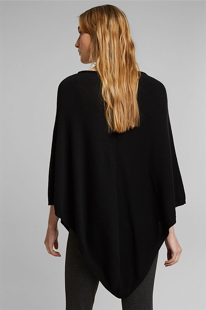 Recycled and with wool: handkerchief hem poncho, BLACK, detail image number 3