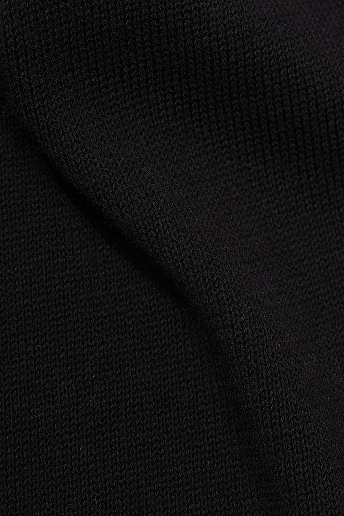 Recycled and with wool: handkerchief hem poncho, BLACK, detail image number 2