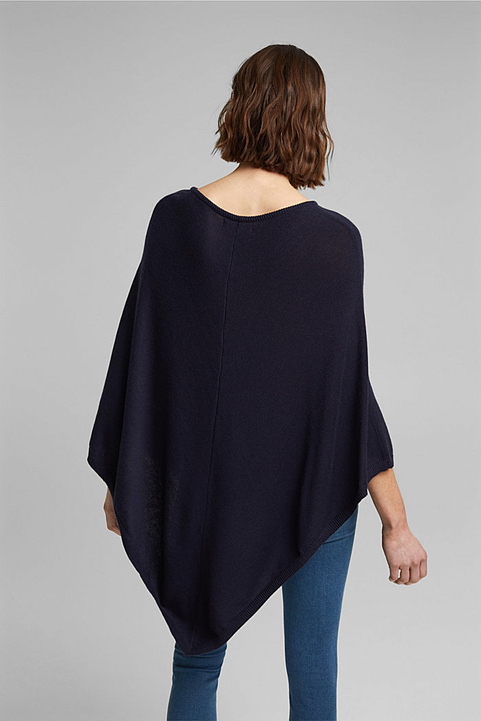Recycled and with wool: handkerchief hem poncho, NAVY, detail image number 3