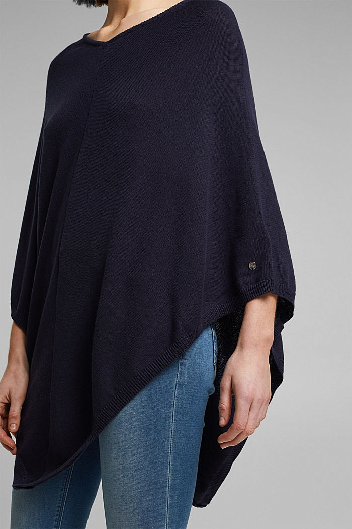 Recycled and with wool: handkerchief hem poncho, NAVY, detail image number 4