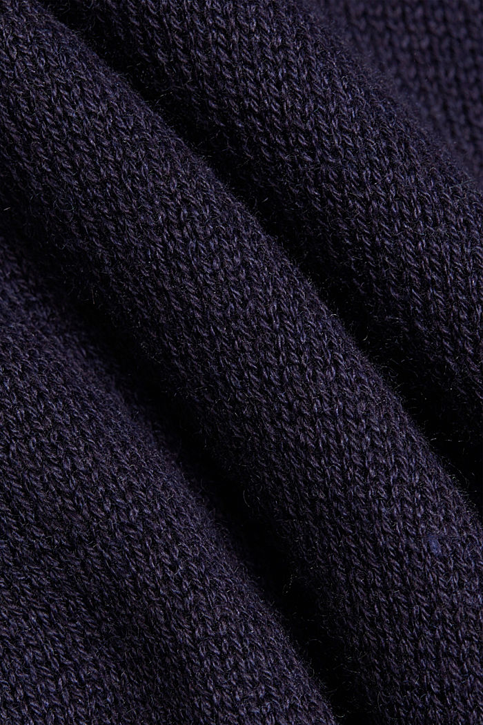 Recycled and with wool: handkerchief hem poncho, NAVY, detail image number 2