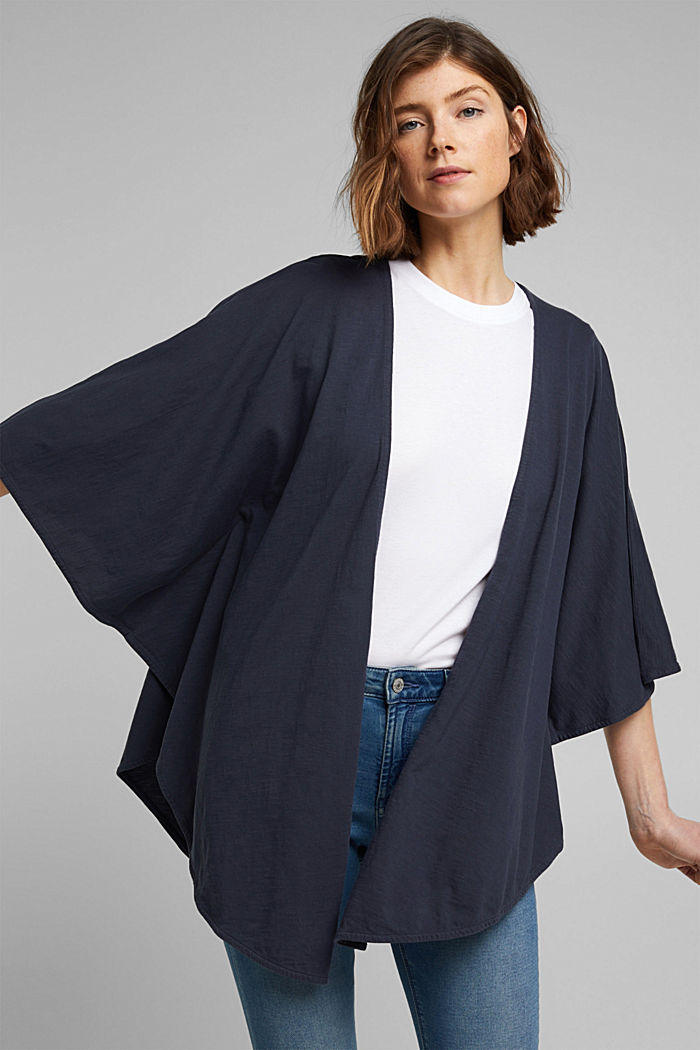 EarthColors® poncho in organic cotton, NAVY, detail image number 4