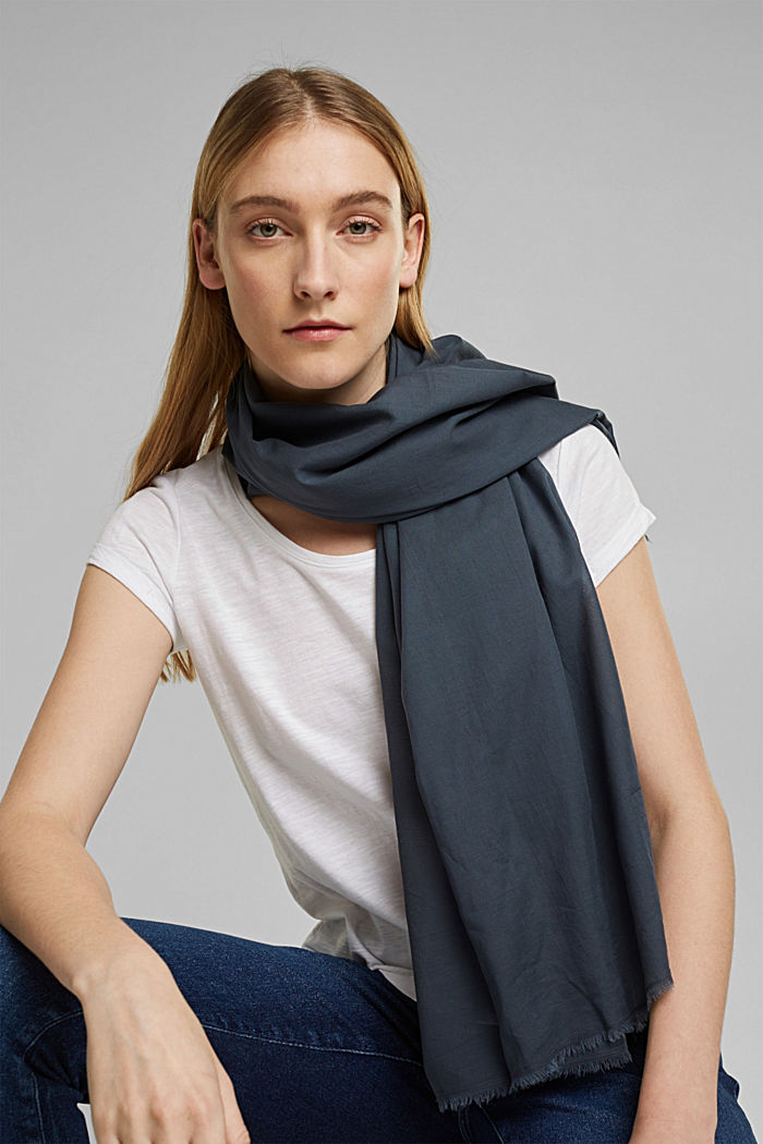 EarthColors®: scarf made of organic cotton, NAVY, detail image number 1