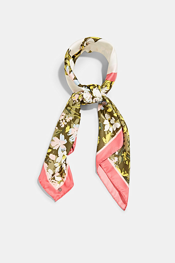 Recycled: Scarf with a satin finish, KHAKI GREEN, detail image number 0