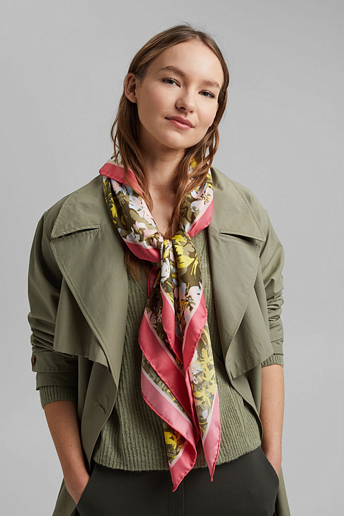 Recycled: Scarf with a satin finish, KHAKI GREEN, detail image number 1