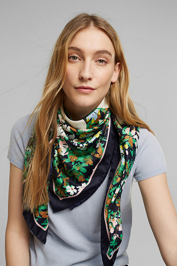 Recycled: Scarf with a satin finish, NAVY, detail image number 1