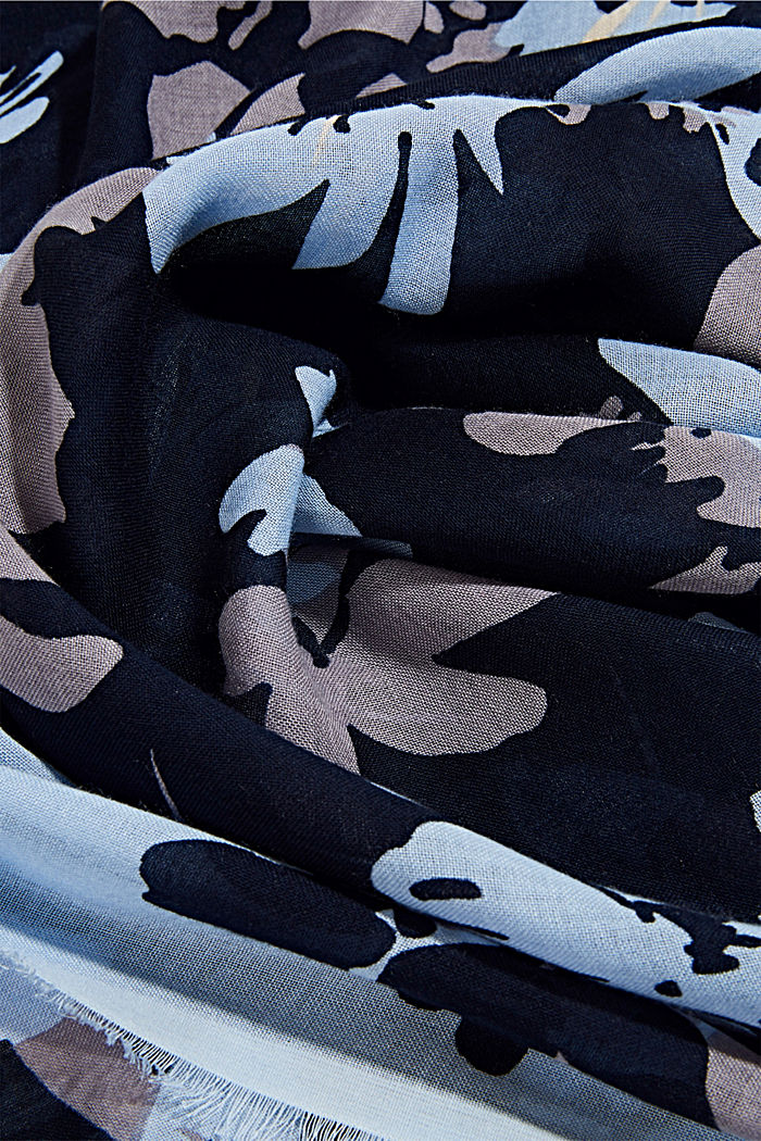 Woven scarf with LENZING™ ECOVERO™, NAVY, detail image number 2