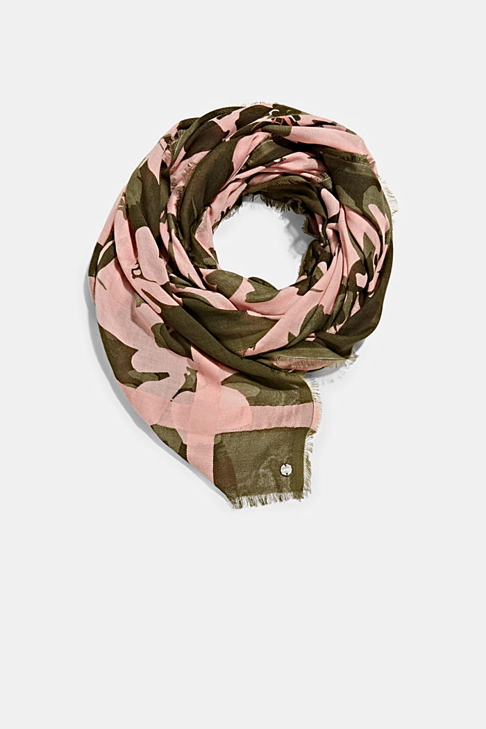 Woven scarf with LENZING™ ECOVERO™, NUDE, detail image number 0