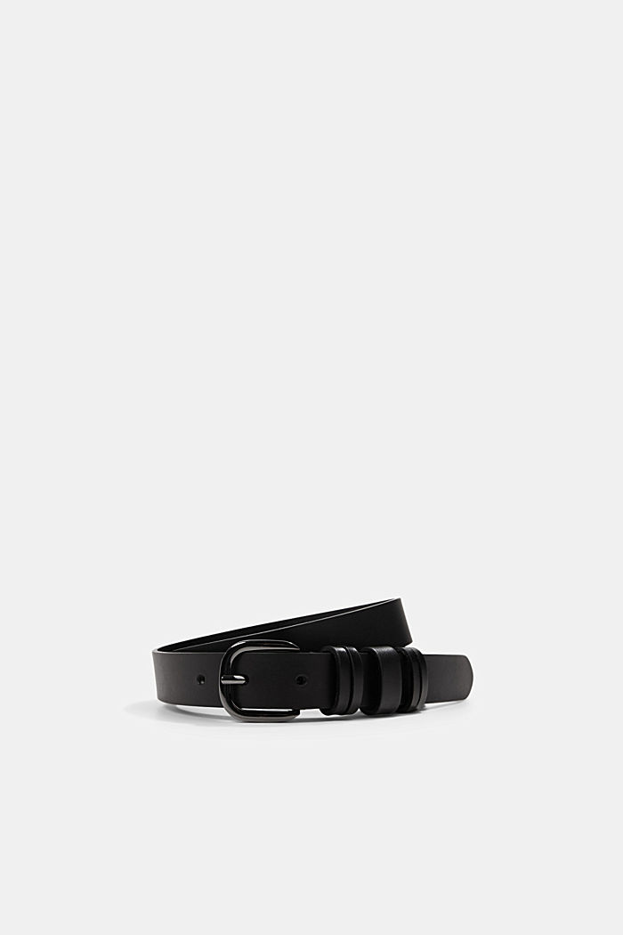 Leather belt with multiple loops, BLACK, detail image number 0