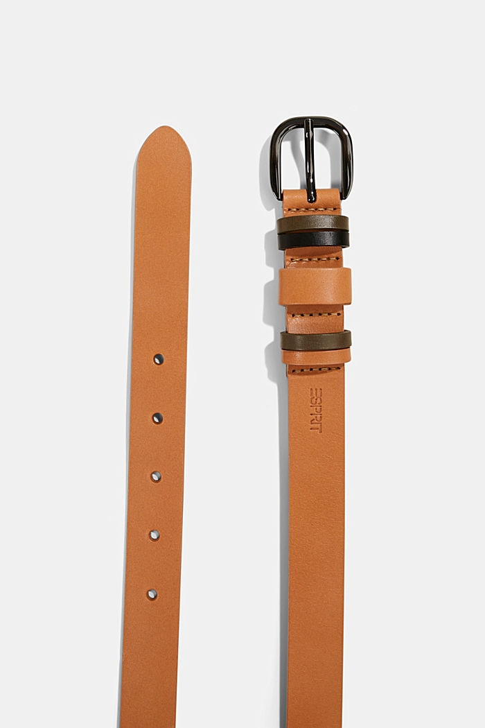Ledergürtel mit Multi-Schlaufen, CAMEL, detail image number 1