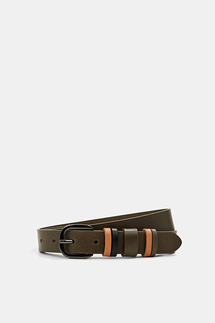 Leather belt with multiple loops, KHAKI GREEN, detail image number 0