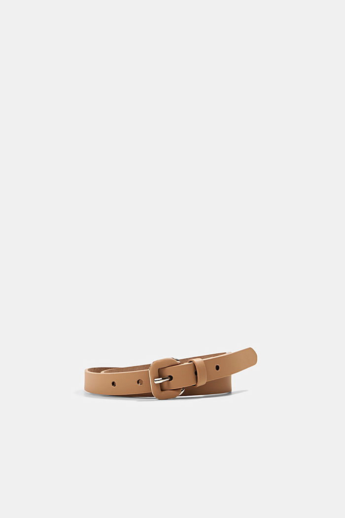 Narrow leather belt with a covered buckle