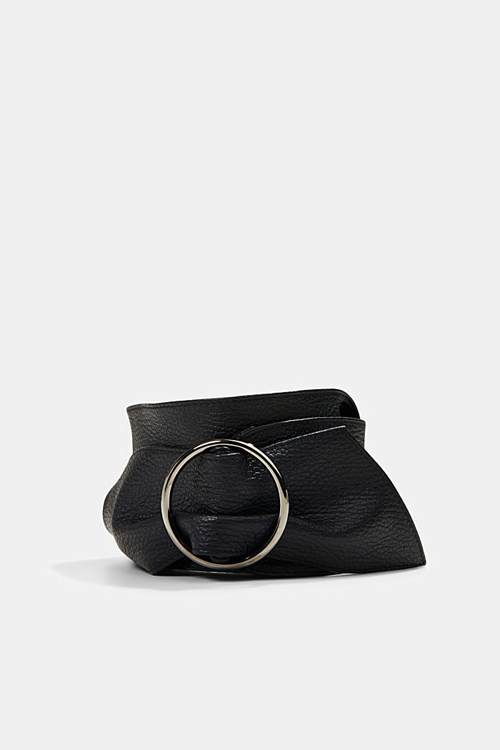 Wide waist belt made of soft leather, BLACK, detail image number 0