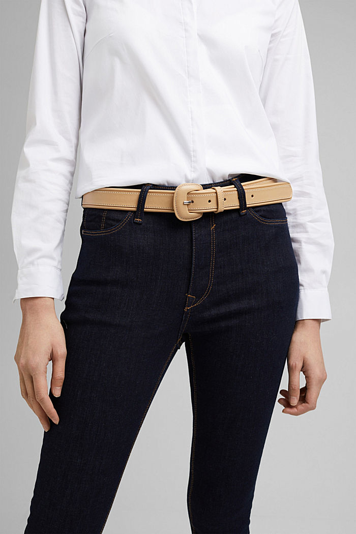 Belt with a covered pin buckle, CAMEL, detail image number 2