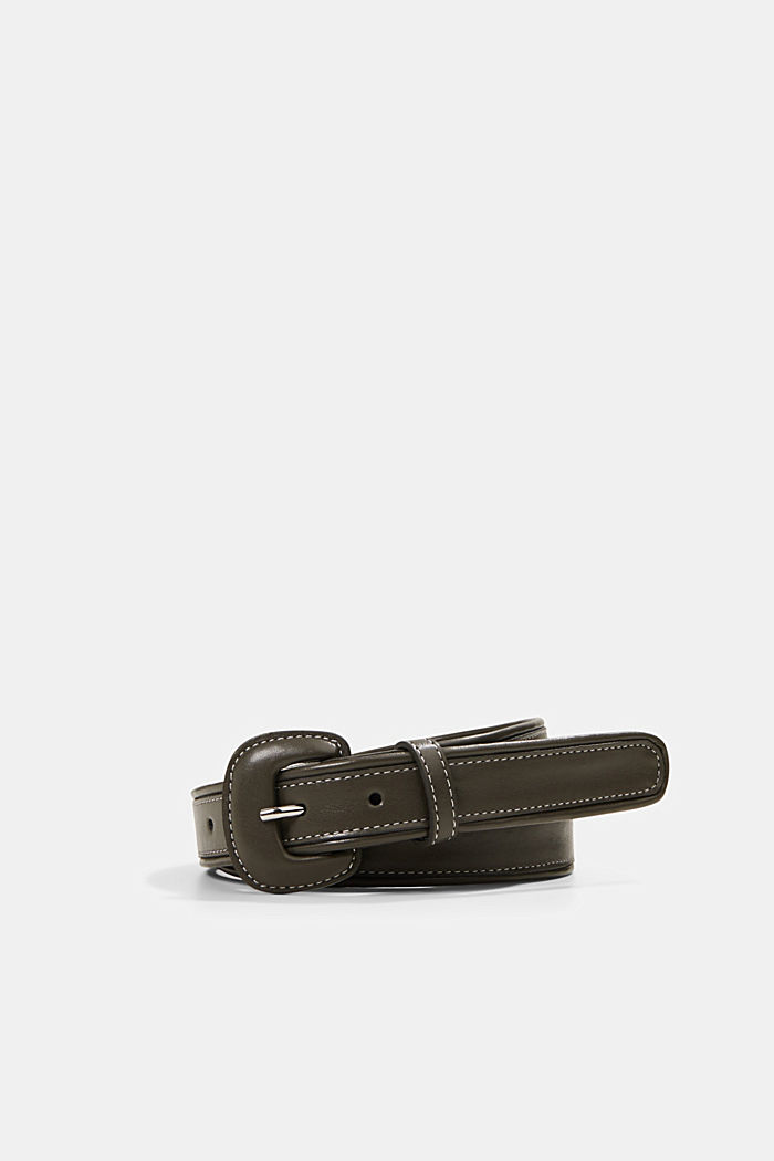 Belt with a covered pin buckle, KHAKI GREEN, detail image number 0