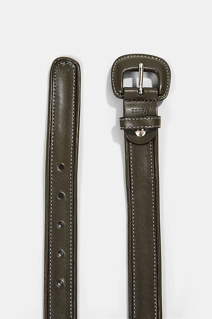 Belt with a covered pin buckle, KHAKI GREEN, detail image number 1