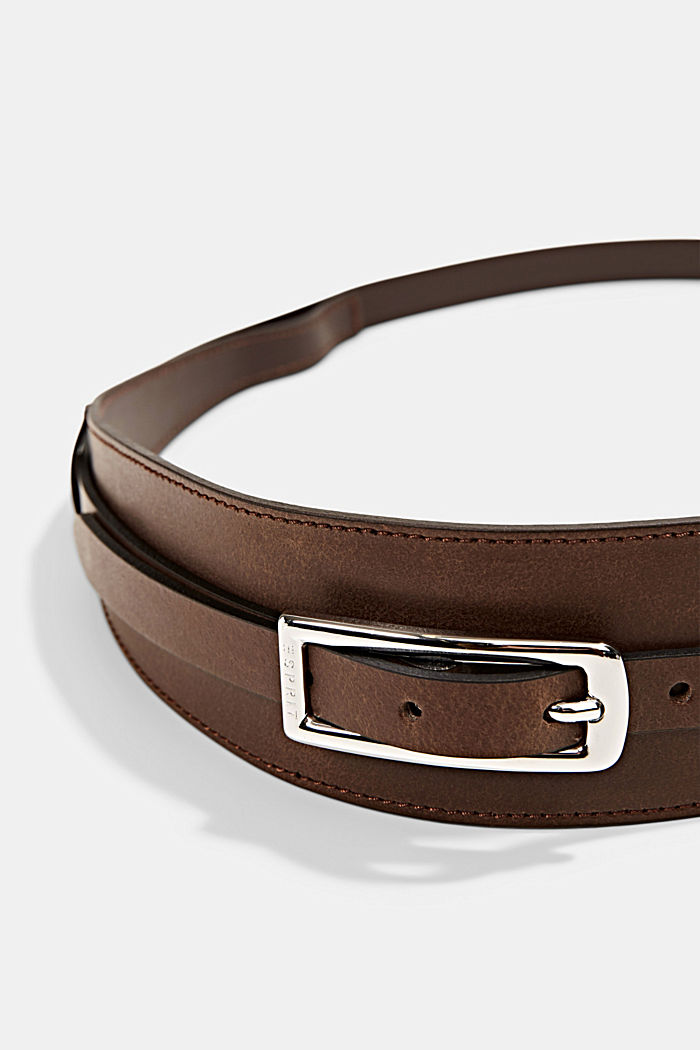 Genuine leather waist belt, RUST BROWN, detail image number 1