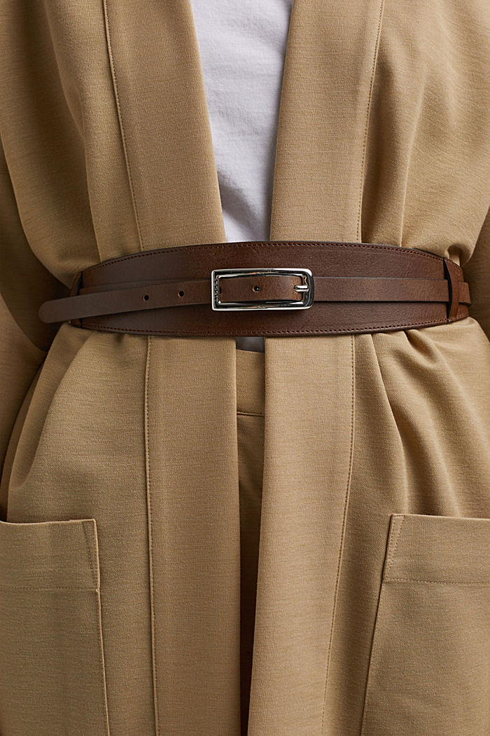 Genuine leather waist belt, RUST BROWN, detail image number 2
