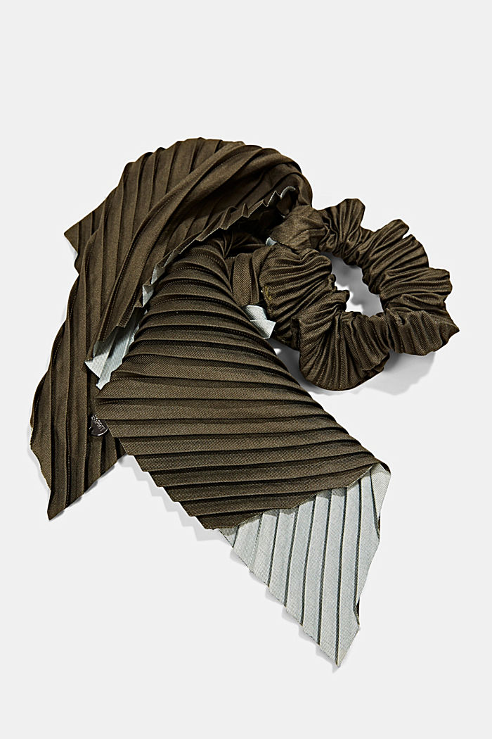 Recycled: Scrunchie with a floral pattern, LIGHT KHAKI, detail image number 1