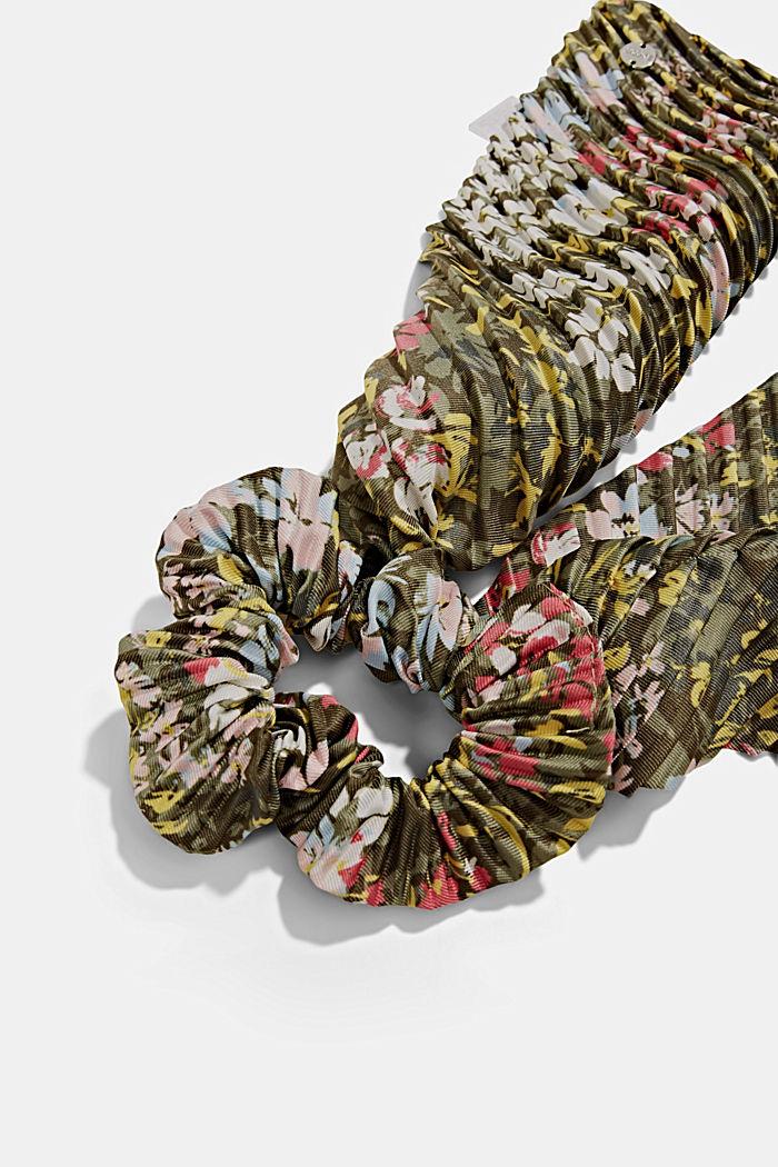 Recycelt: Scrunchy mit Blumen-Muster, KHAKI GREEN, detail image number 1