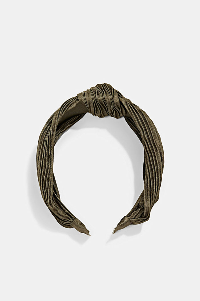Recycled: Hairband with plissé pleats, LIGHT KHAKI, detail image number 0