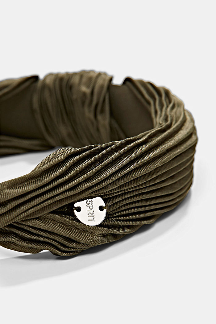 Recycled: Hairband with plissé pleats, LIGHT KHAKI, detail image number 2