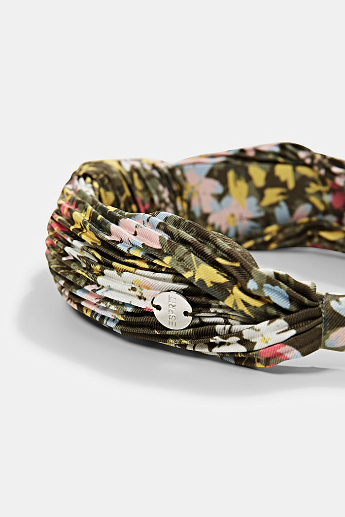 Recycled: Hairband with plissé pleats, KHAKI GREEN, detail image number 1