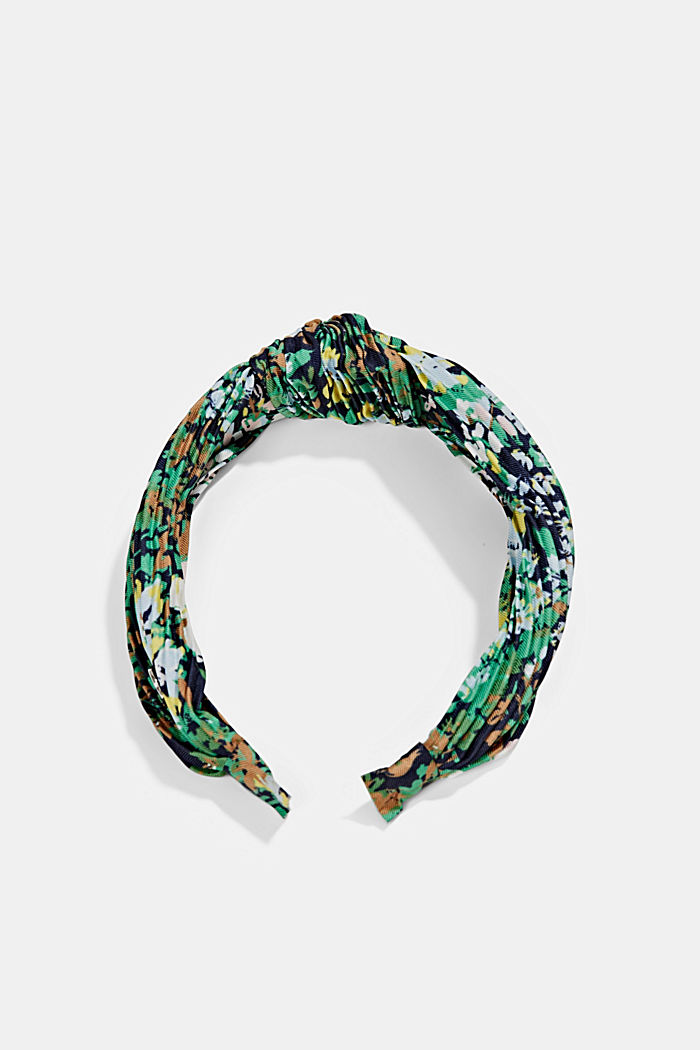 Recycled: Hairband with plissé pleats, NAVY, detail image number 0