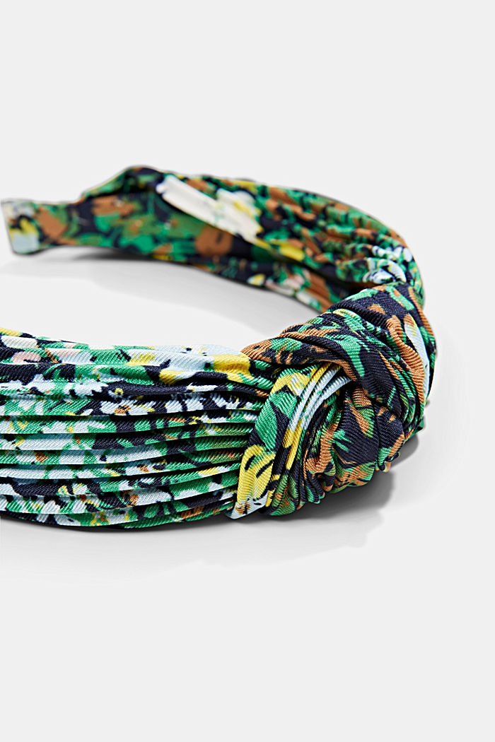 Recycled: Hairband with plissé pleats, NAVY, detail image number 1