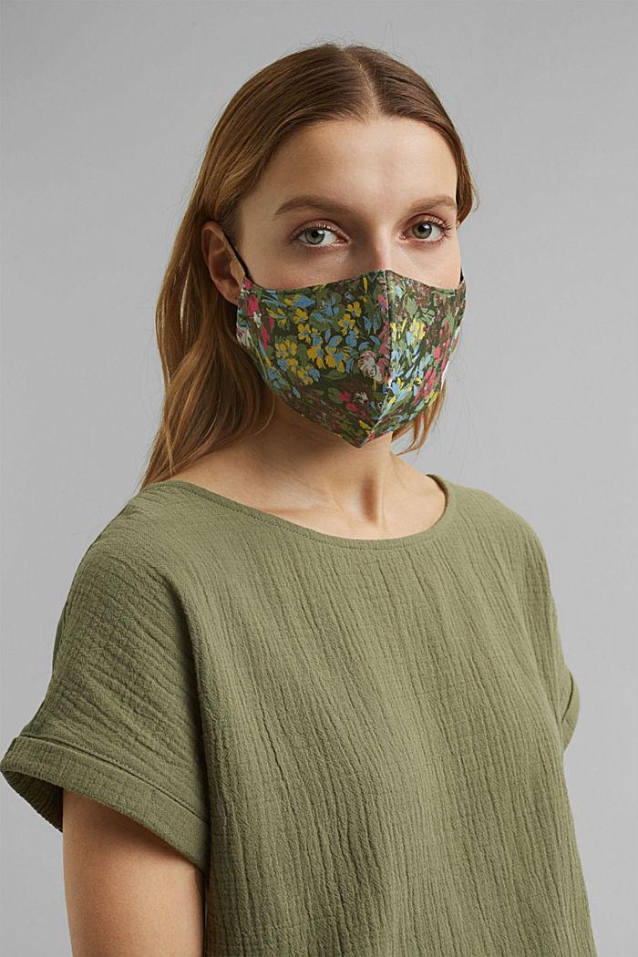 Face mask made of 100% organic cotton, KHAKI GREEN, detail image number 2