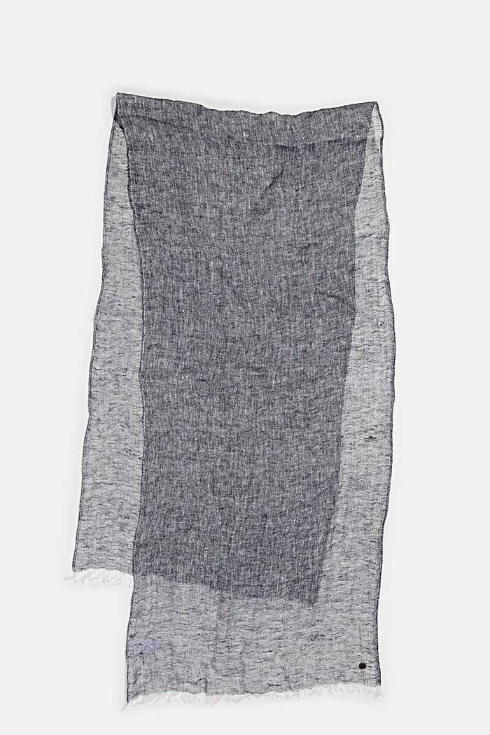 Schal aus 100% Leinen, NAVY, detail image number 0