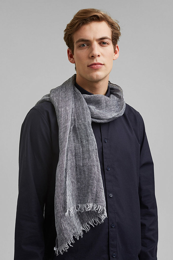 Scarf made of 100% linen, NAVY, detail image number 1