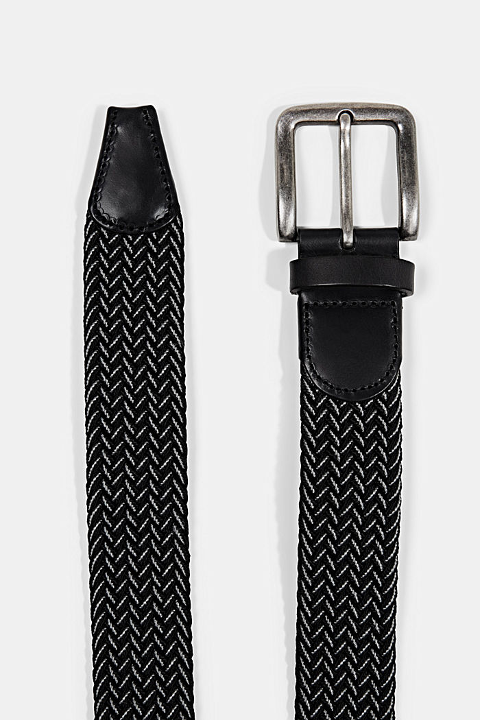 Woven belt with leather and a pin buckle, NAVY, detail image number 1