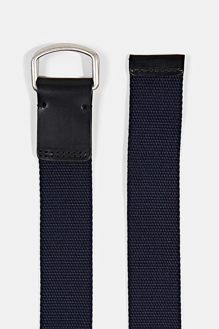 En matières recyclées: la ceinture tissée dotée d'une boucle à anneaux, NAVY, detail image number 1