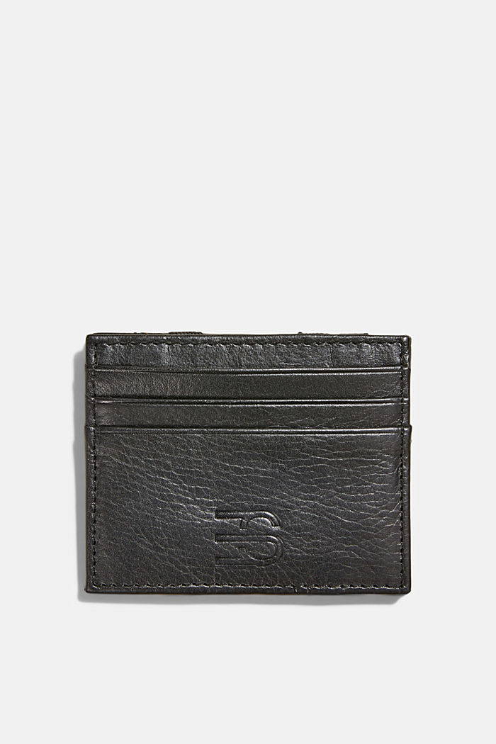 Card holder made of 100% chrome-free tanned leather, BLACK, detail image number 0