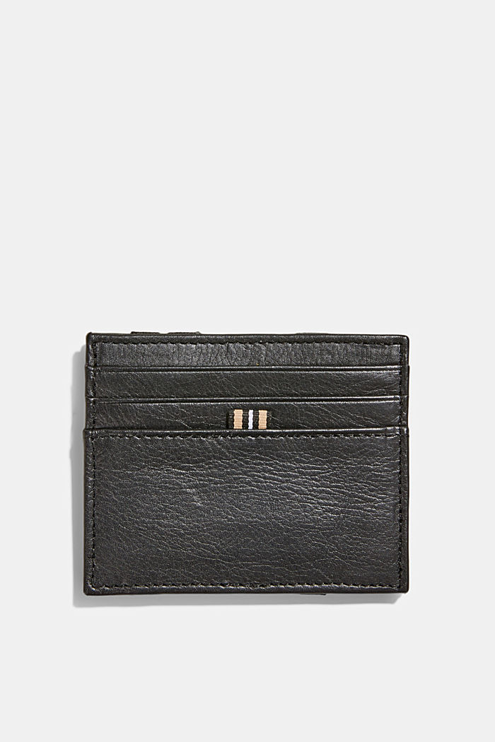 Card holder made of 100% chrome-free tanned leather, BLACK, detail image number 1