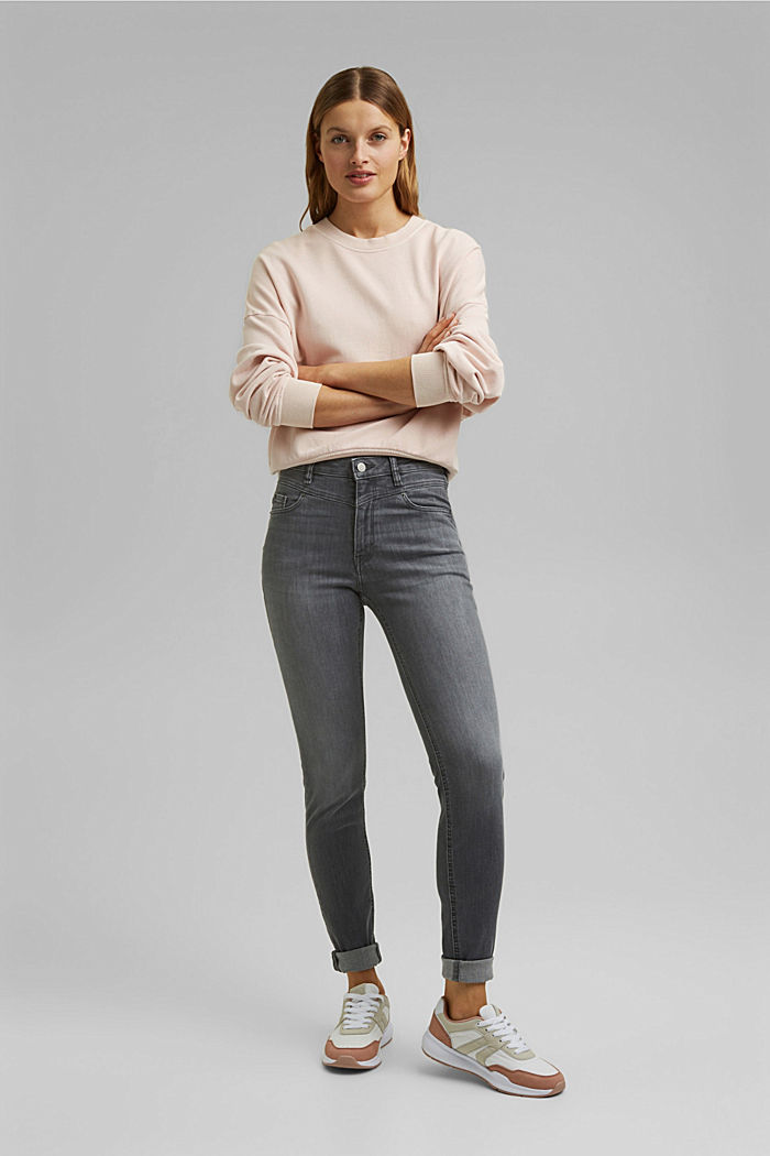 Stretch jeans containing organic cotton, GREY MEDIUM WASHED, detail image number 1